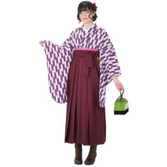 卒業式向けの二尺袖着物と袴の3点セット「紫×白 矢羽」 Mサイズ