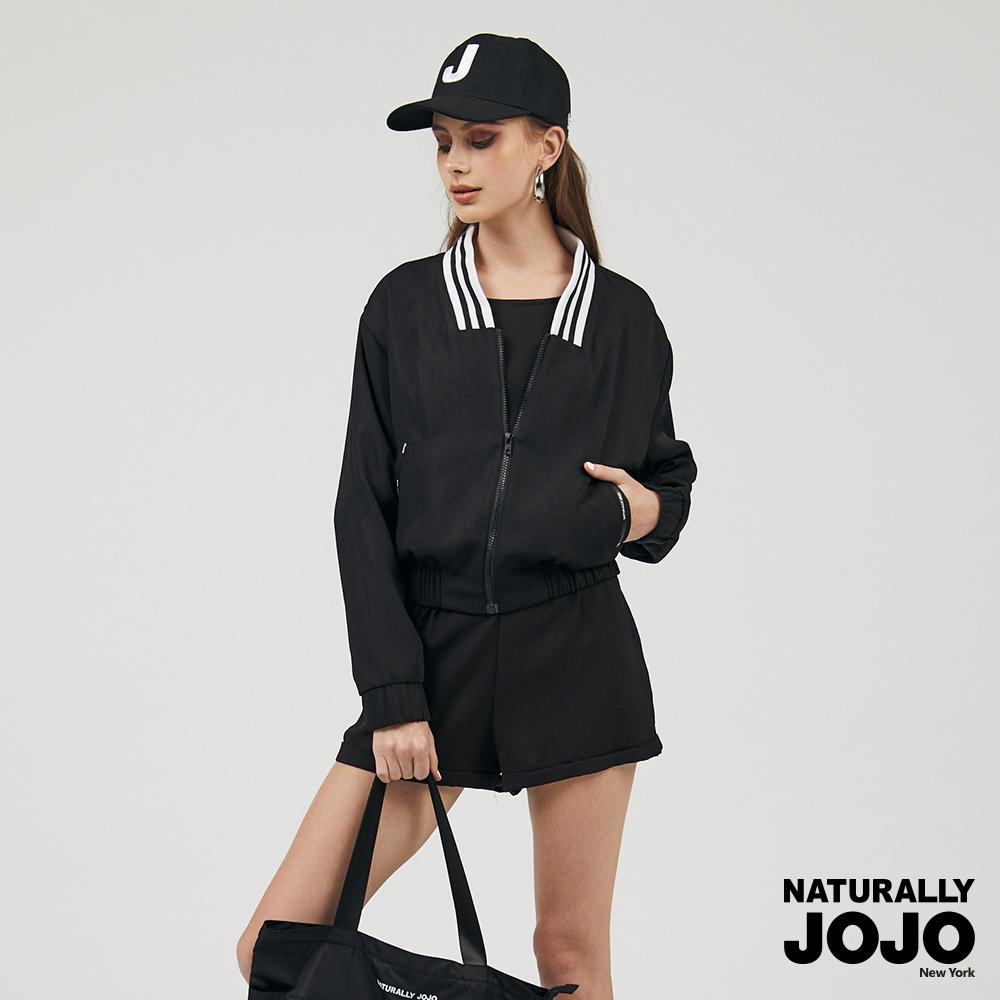 【NATURALLY JOJO】 羅紋運動短版外套 (黑)