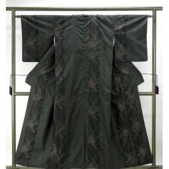 紬 正絹 旗印 9マルキ草葉花模様 大島紬 リサイクル 着物