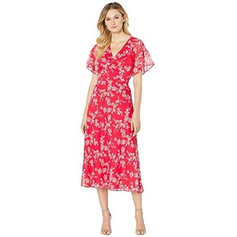 [LAUREN Ralph Lauren(ローレンラルフローレン)] ドレス・ワンピース Floral Tie-Front Georgette Dress Watermelon/Pink/Multi XXXL [並行輸入品]