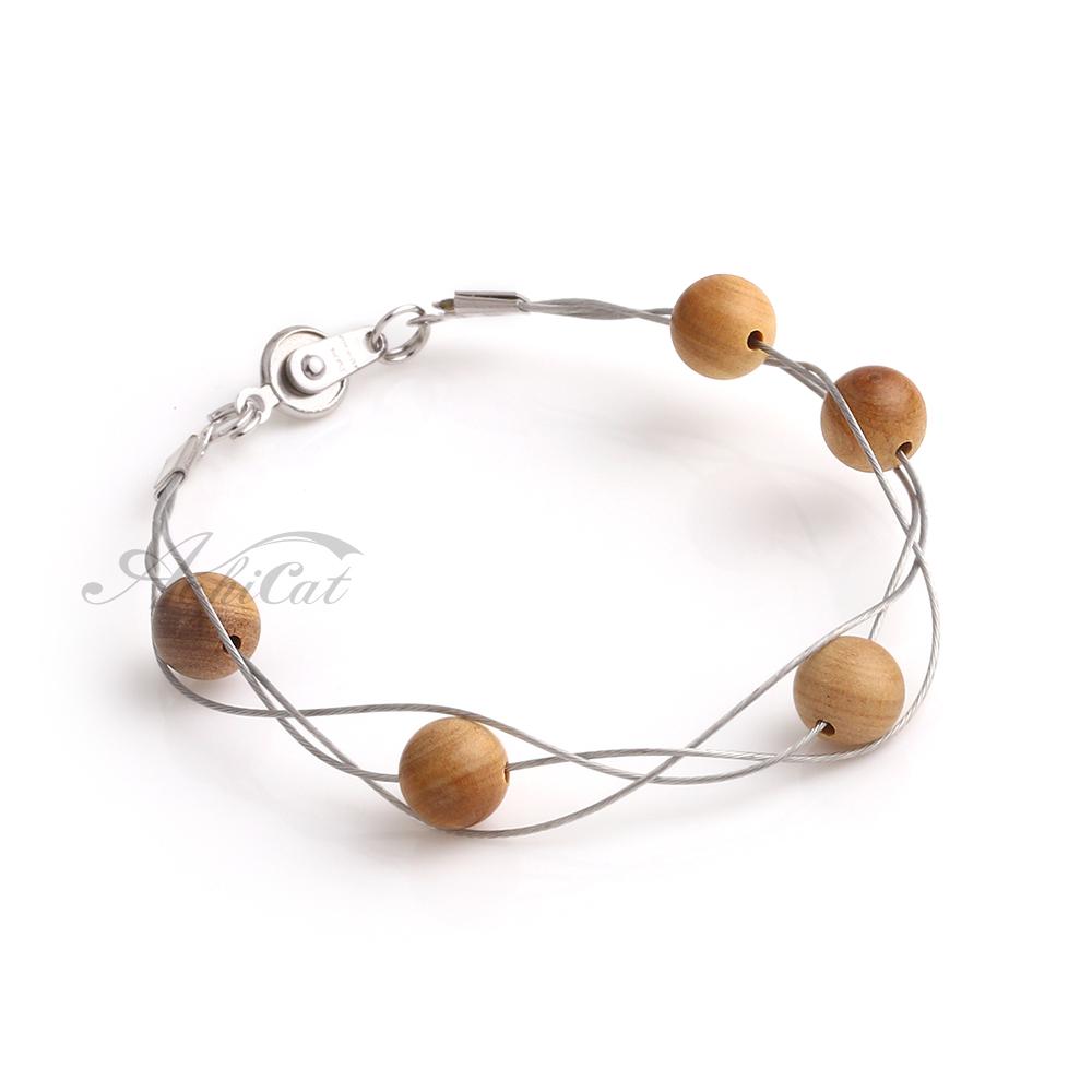 AchiCat 天然檀香珠 鋼手鍊 樸實自在 手作檀香串珠手鍊 H9006