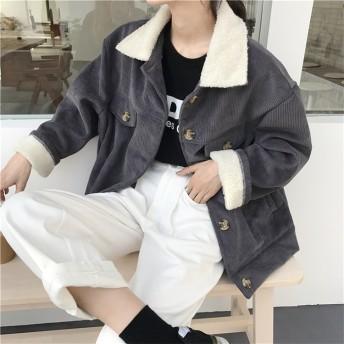 [55555SHOP] 高品質で 韓国ファッション ワイルド ゆったり ヴィンテージ 折り襟 暖かい 厚手 コーデュロイ ショートコート