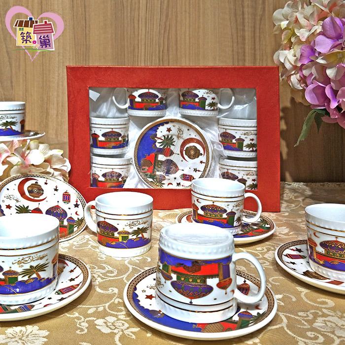 阿拉伯風濃縮咖啡六杯六盤茶具組 【築巢傢飾】
