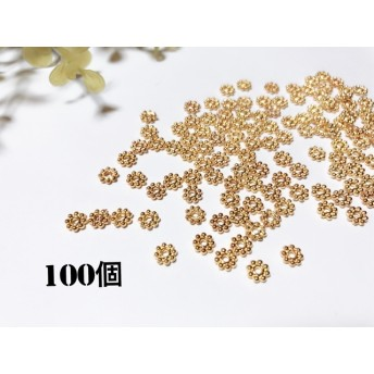 花型スペーサー ロンデル 5mmゴールド 約100個