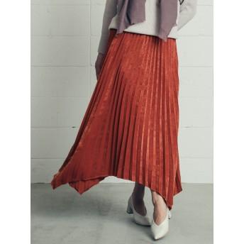 スウェード調素材のヘムラインプリーツスカート