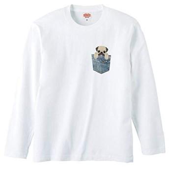chatte noir Tシャツ メンズ 長袖 ロングTシャツ レディース おしゃれ パグ PUG イヌ ポケットから犬シリーズ おもしろTシャツ ユニセックス プリントTシャツ ホワイト XL