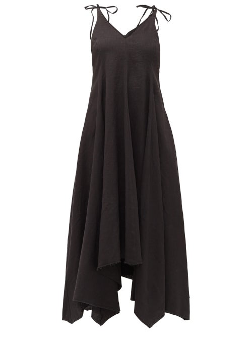 Fil De Vie - Tangier Linen Midi Dress - Womens - Black