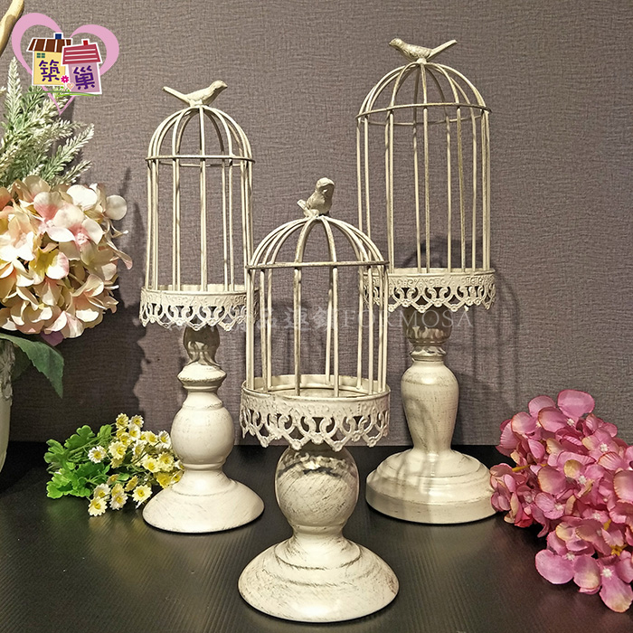 白色仿舊懷舊風鍛鐵鳥籠多用途桌上燭台 【築巢傢飾】