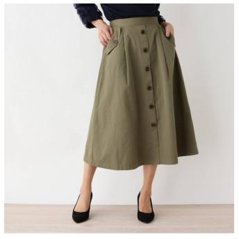 【シューラルー/SHOO・LA・RUE】 【M-LL】Aラインフロントボタンスカート