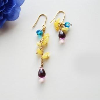 琥珀のピアス Individuel Amber earrings P0039