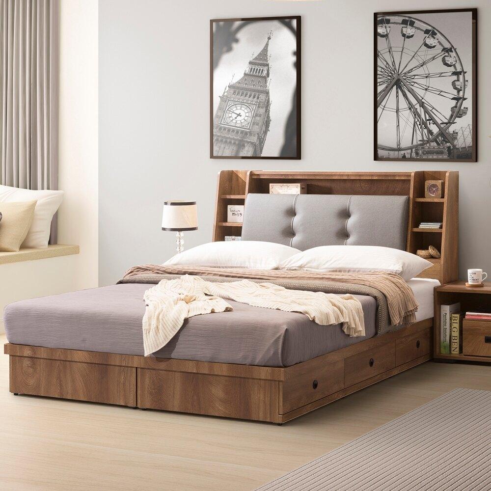 直人木業  OAK橡木5尺雙人收納床組  床頭貓抓皮 床底3抽