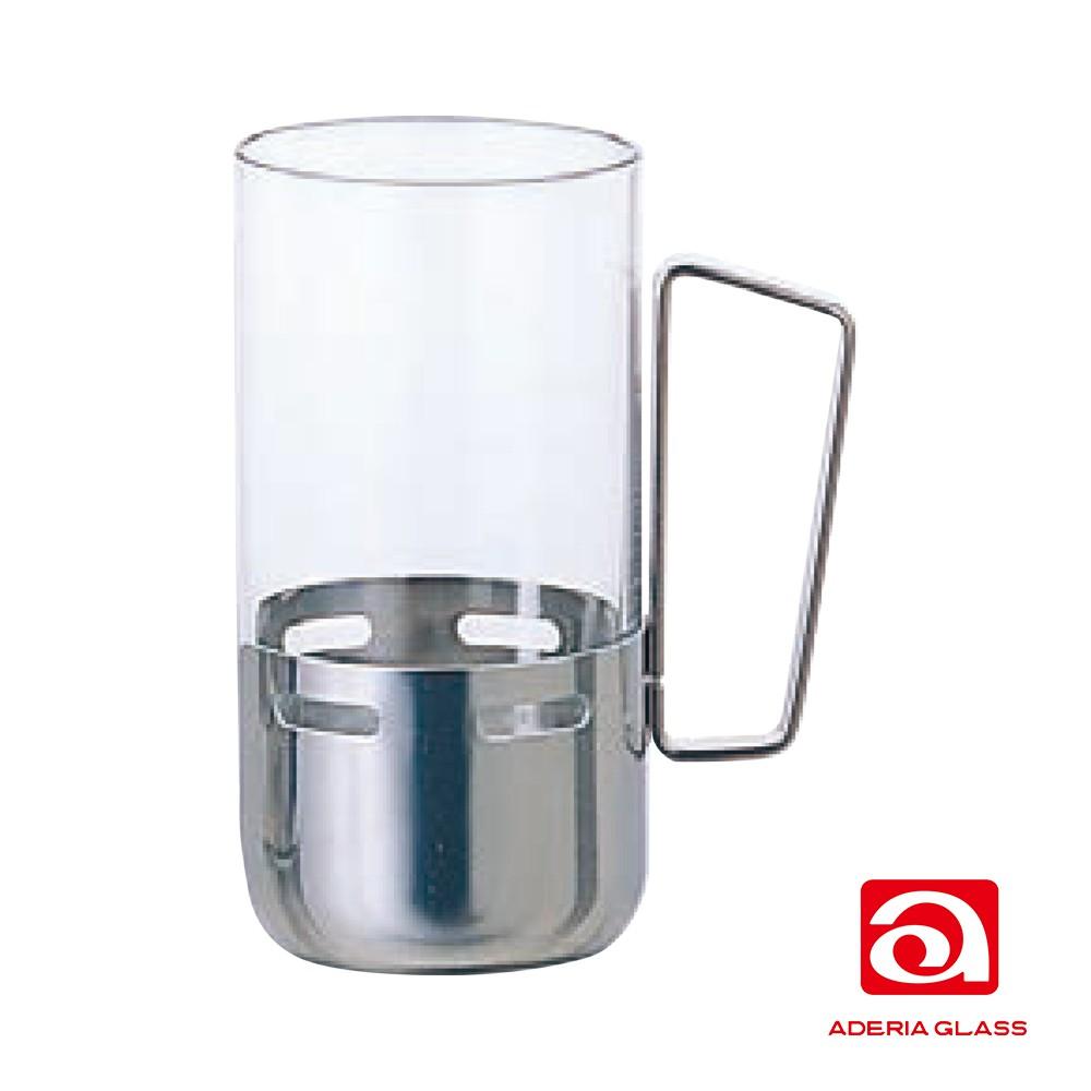 【日本ADERIA】 不銹鋼握把強化杯 共兩款 《泡泡生活》強化玻璃杯/玻璃馬克杯/水杯/咖啡杯/日本製