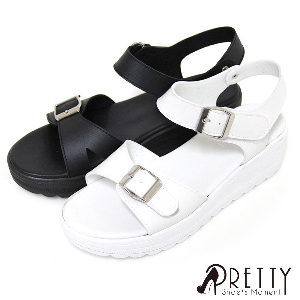 【Pretty】韓系休閒沾黏式厚底涼鞋B-27726