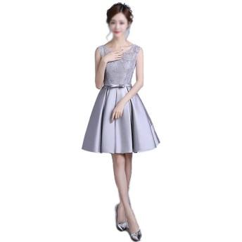 グレーのファッションの肩のVネックのレースの宴会のイブニングドレス (Color : Grey, Size : S)
