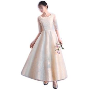 パーティーの結婚式の女性のラウンドネック長袖ビーズセクシーなMaixのドレス (Color : Champagne, Size : S)