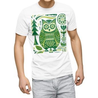 igsticker プリント Tシャツ メンズ 3XL XXXL サイズ size おしゃれ クルーネック 白 ホワイト t-shirt 004548 アニマル フクロウ 鳥 緑