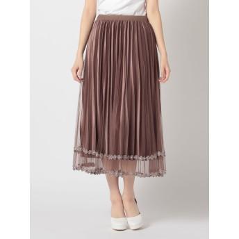 裾チュールレースベロアプリーツスカート