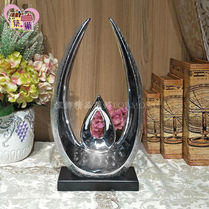 ✨獨特手工結晶紋✨亮銀色陶瓷抽象吉祥開運擺飾(圓弧)【築巢傢飾】