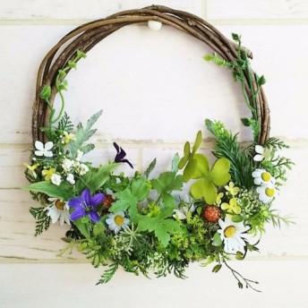 玄関ドアリース 春の野に咲く花 母の日、お誕生日プレゼントに、マイルルームでも。