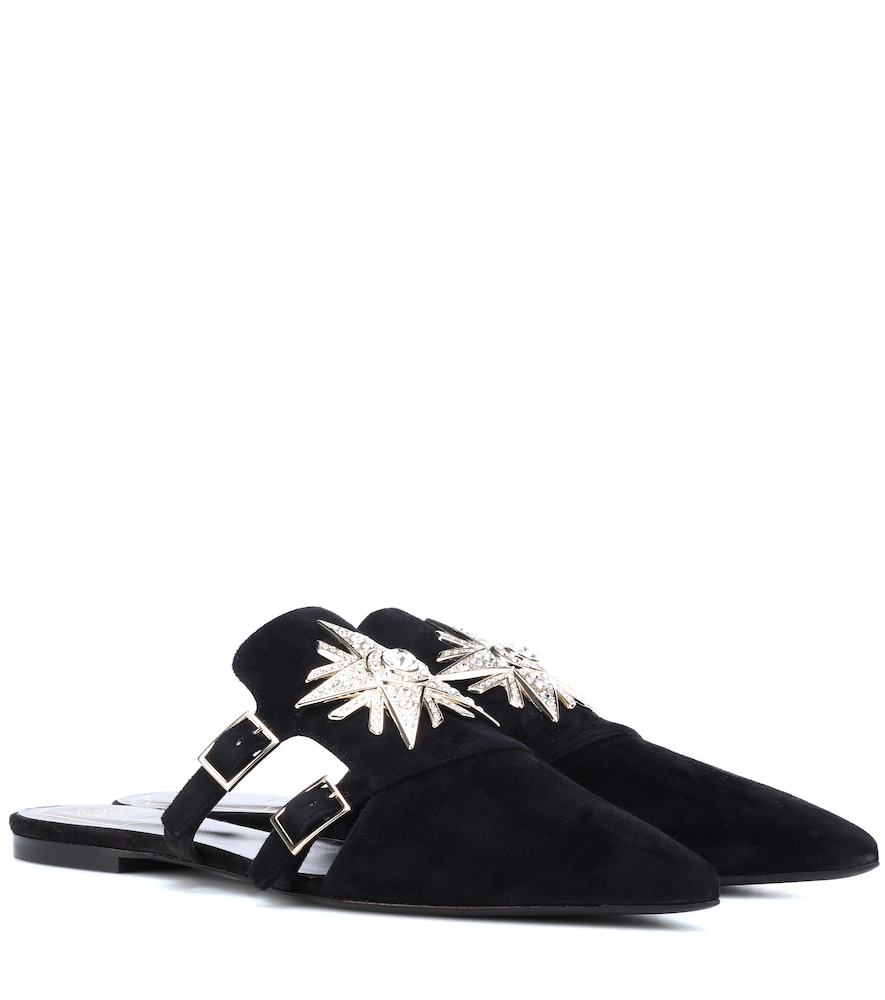Sin Star Strass suede slippers