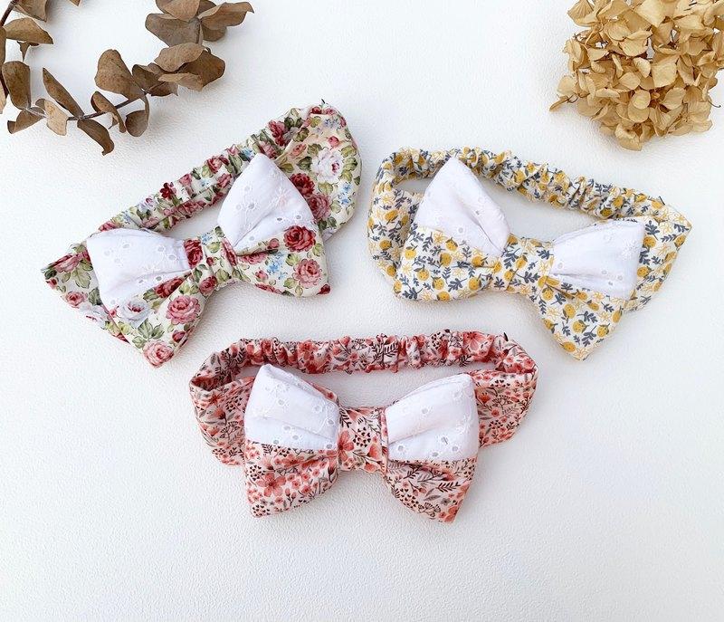 粉紅櫻花 / 桔子小花 / 復古玫瑰 拼接蕾絲布 寶寶髮帶