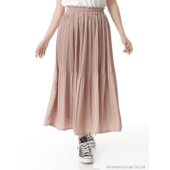 シルキーサテンプリーツロングスカート