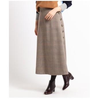 【XS~Lサイズあり】ボタンチェックAラインスカート