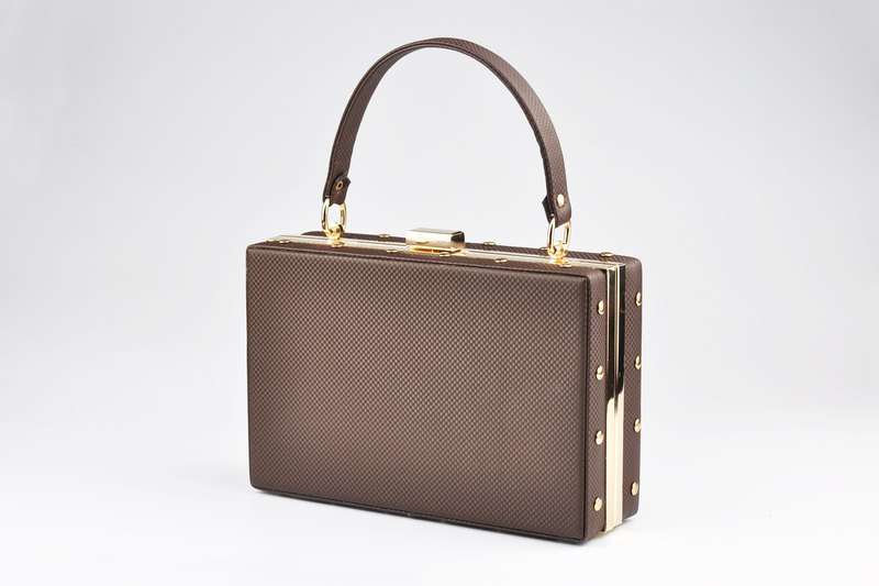 輕復古手提包 晚宴包 迷你手提箱 棕色/米黃