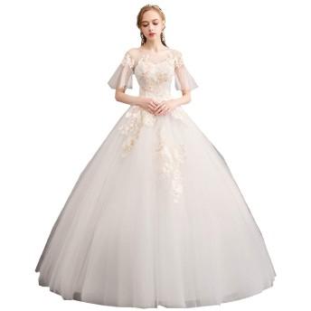ウェディングドレス ドレス 結婚式 チー結婚式シャンパンレースワンショルダートランペット袖の花嫁は薄い夢のようなウェディングドレスでした ウエディングドレス 披露宴 花嫁衣装 (Size : M)
