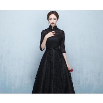 卸売可パーティードレス結婚式ロングドレス立ち襟ドレス袖ありウェディングドレス二次会ドレスレースアップパーティドレス黒ドレスお呼ばれ忘年会as0212 158