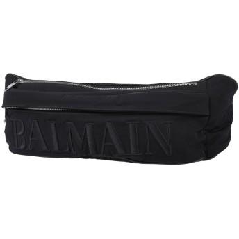 《セール開催中》BALMAIN メンズ バックパック&ヒップバッグ ブラック ナイロン 100% / コットン / 牛革(カーフ)