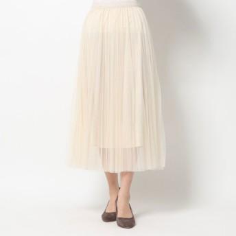 ルーミィーズ Roomy's チュールプリーツスカート (ベージュ)