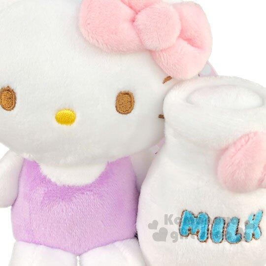 【領券折$30】小禮堂 Hello Kitty 絨毛玩偶娃娃吊飾《白紫.牛奶瓶》鑰匙圈.掛飾