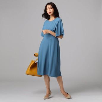 アンタイトル UNTITLED 【洗える】バックサテンフレアワンピース (ブルー)