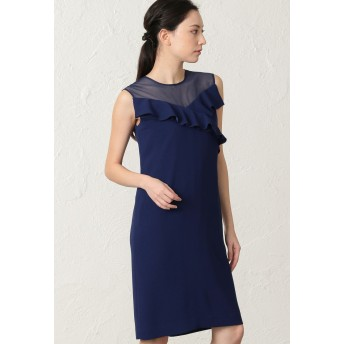 EPOCA バックサテンジョーゼット ドレス ワンピース,ブルー2