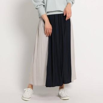 デッサン Dessin 【XS〜Lサイズあり・洗える】パウダーサテン切り替えスカート (ネイビー)