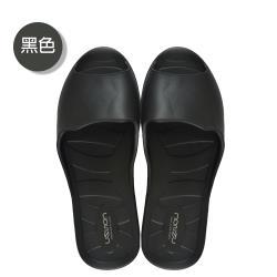 (MONZU)零著感一體成型防滑魚口室內外拖鞋-黑色