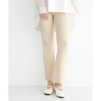 メルロー merlot フレア裾リブニットパンツ (アイボリー)