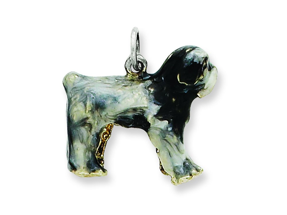 Sterling Silver Dog Charm 0.4IN long x 0.5IN wide