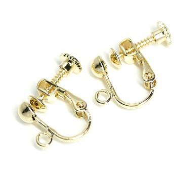 送料無料【6個入り】基本金具!円形ネジバネ&カン付きゴールドイヤリング金具