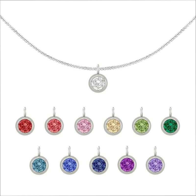 (採用施華洛世奇水晶) 幸運水晶純鋼項鍊 - 12色