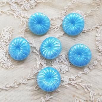 【2個セット】ヴィンテージ チェコ ブルー ガラス ボタン ハンドメイド 素材 アンティーク レトロ