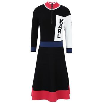 《セール開催中》KARL LAGERFELD レディース ミニワンピース&ドレス ブラック M レーヨン 83% / ポリエステル 17% COLORBLOCK LOGO DRESS