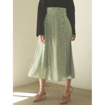 LAGUNAMOON Modernフラワーラップスカート(グリーン)