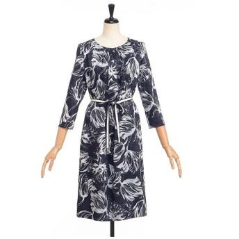 LESTERA チューリッププリントドレス ワンピース,ネイビー
