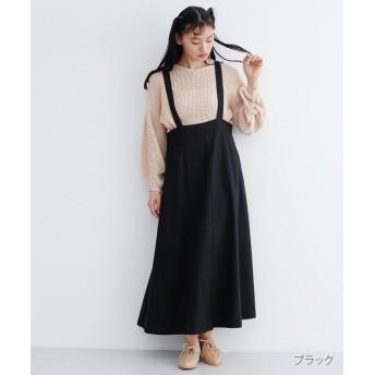 メルロー コットンリネンサスペンダースカート レディース ブラック FREE 【merlot】
