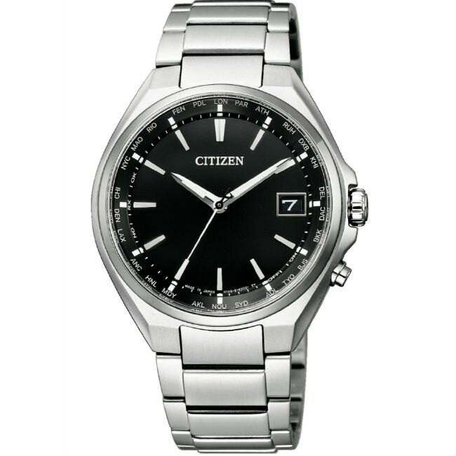CITIZEN 星辰錶 CB1120-50E GENT'S 光動能電波鈦金屬腕錶 /銀x黑 38mm