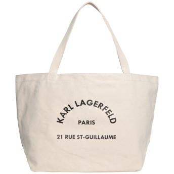 《セール開催中》KARL LAGERFELD レディース ハンドバッグ アイボリー コットン 100% K/RUE ST GUILLAUME CANVAS TOTE