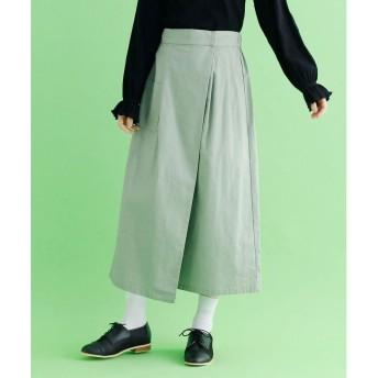 メルロー merlot ロング丈コットンラップスカート (ブルーグリーン)