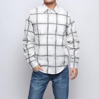 セブンデイズ サンデイ SEVENDAYS=SUNDAY outlet チェックプリント 長袖レギュラーシャツ (オフホワイト)